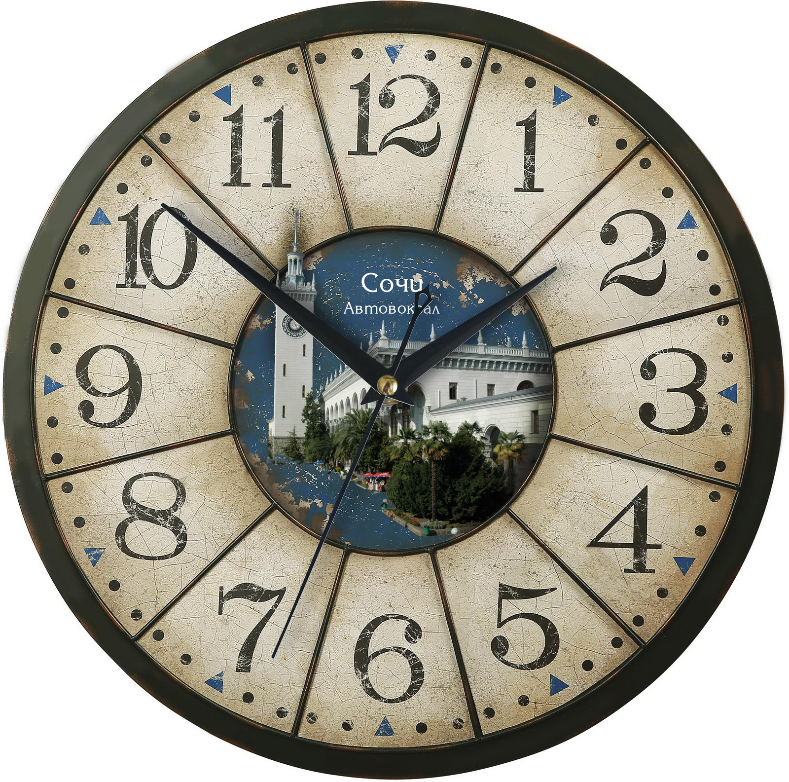 Часы настенные состаренные «Сочи- автовокзал»