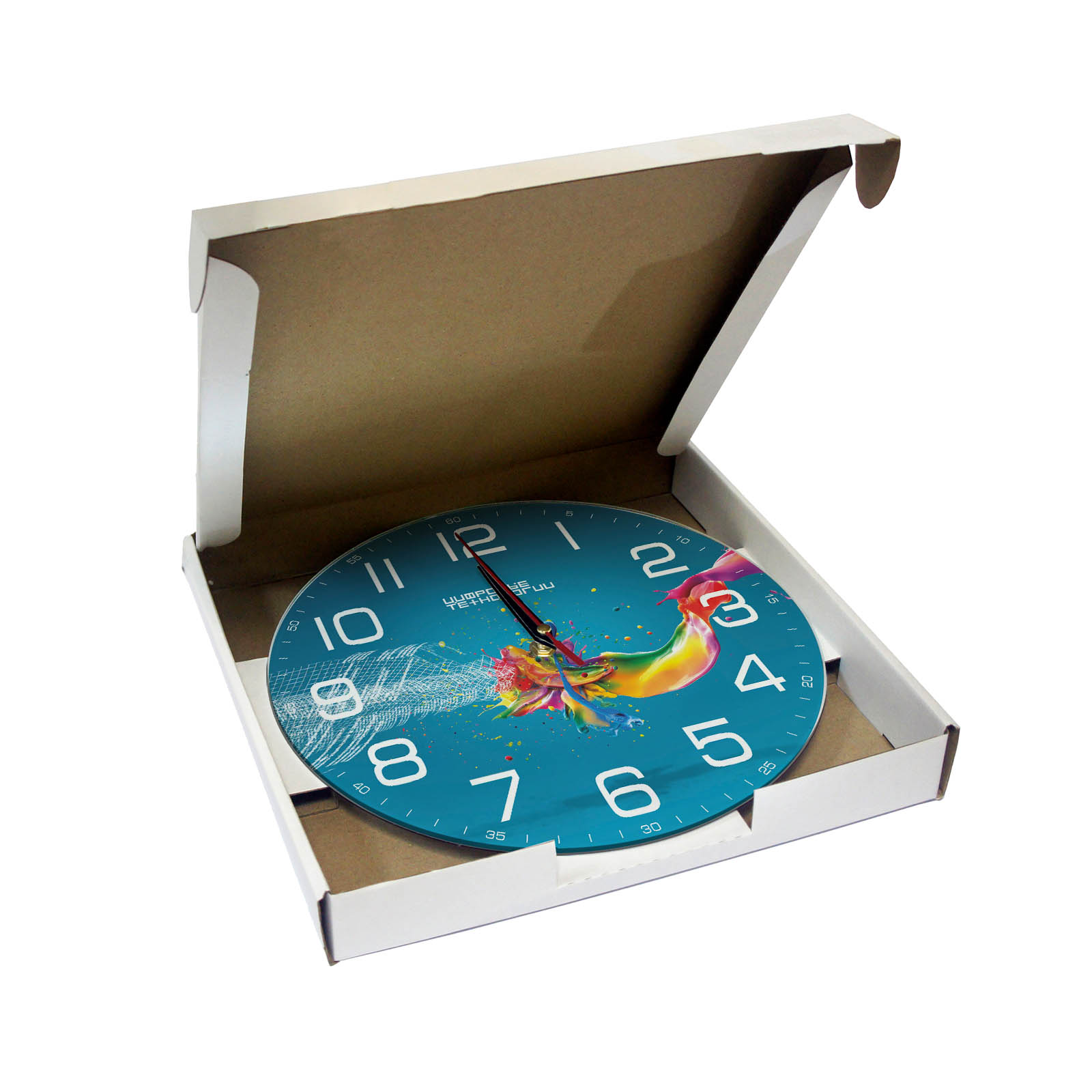 Коробка для часов настенных 280х280 мм белый/бурый картон