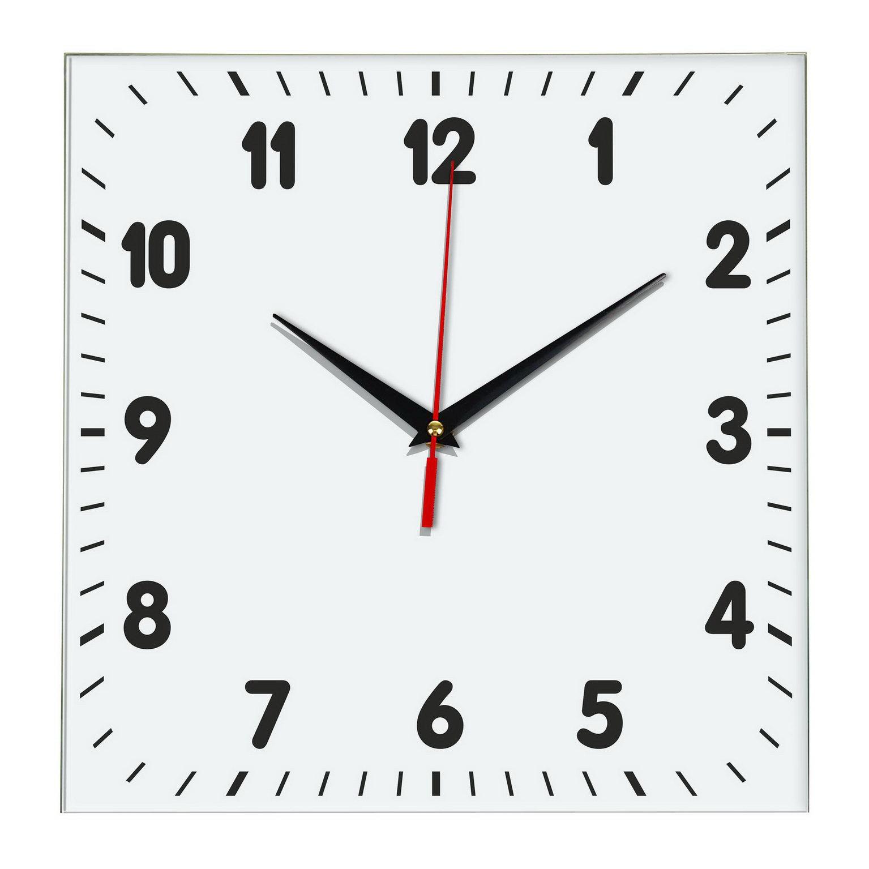 Настенные классические часы «Белый квадрат»