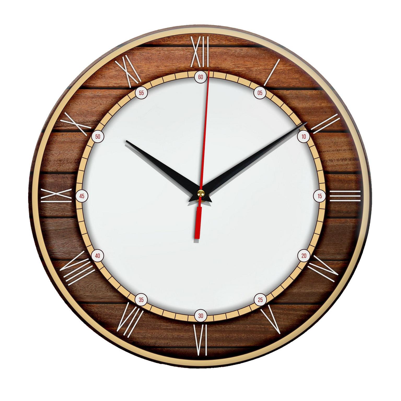 Настенные часы с ободком под дерево