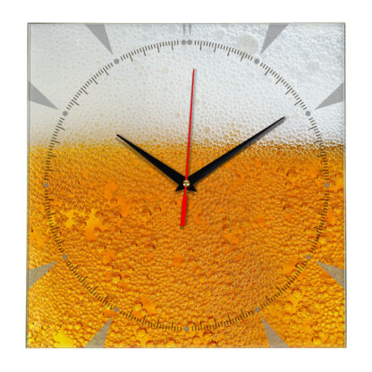 Часы из стекла «Пиво с пеной»