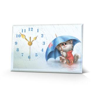 Настольные часы Котик под дождем