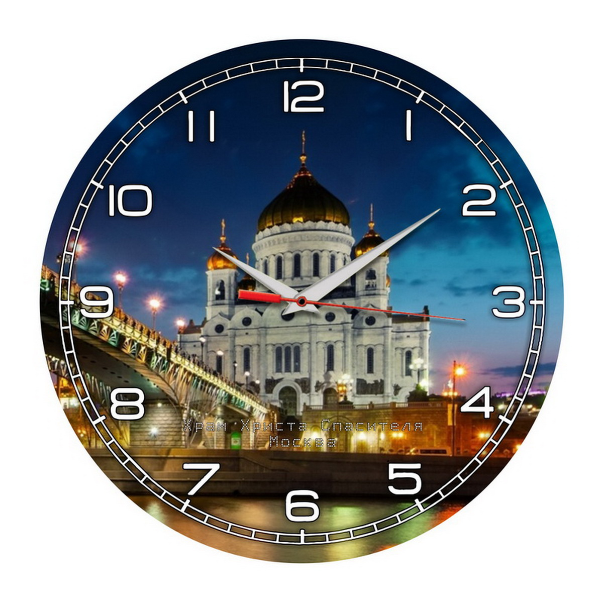 Часы на стену «Храм Христа Спасителя и огни Москвы»