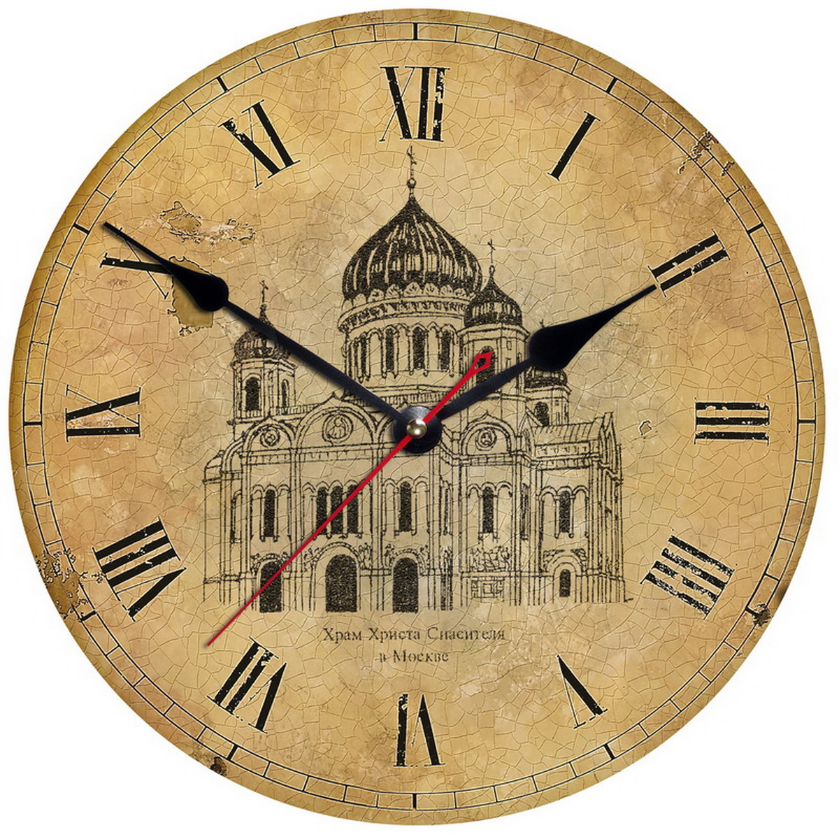 Часы на стену в стиле ретро «Москва. Храм Христа Спасителя»