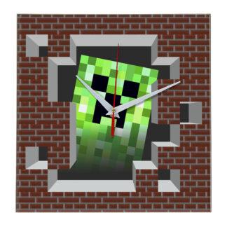 Часы настенные Майнкрафт Стена