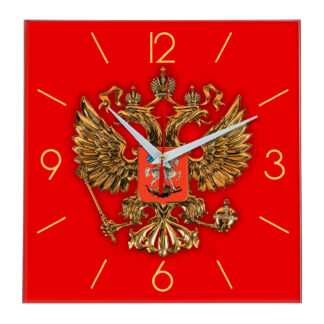 Квадратные настенные стеклянные часы Герб России