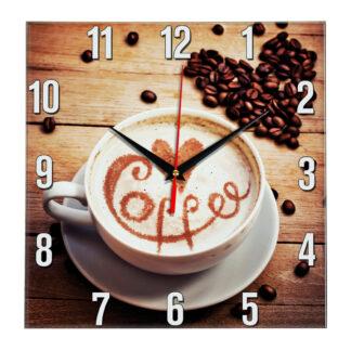 Настенные часы зерна Кофе с сердечком