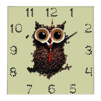Настенные часы Филин из зерен кофе