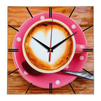 Настенные часы Кофе розовая чашка
