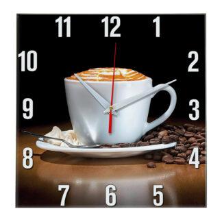 Настенные часы Чашка Капучино с зернами кофе