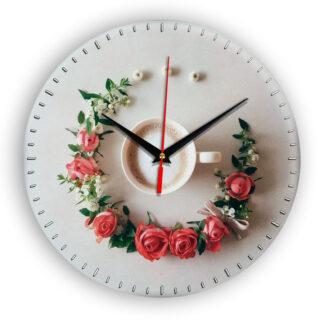 Настенные часы Чашка coffee floral circle 1