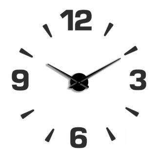 Большие 3D часы черные «Цифры и риски»