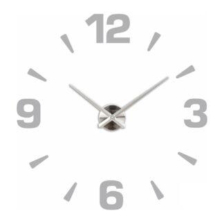 Большие 3D часы серебро цифры и риски