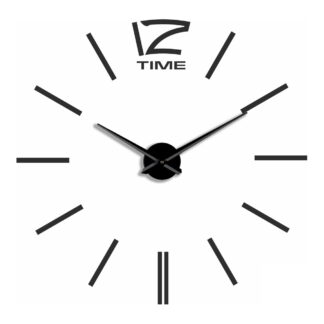 Большие 3D часы самоклеющиеся черные