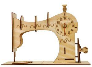 Часы конструктор из дерева «Швейная машинка»