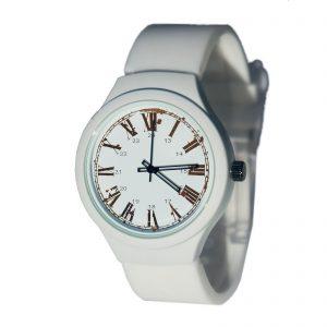 Наручные часы на заказ силиконовый браслет белые