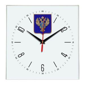 Настенные часы «emblema-gerb-kaznacheystvo-na-sinem-fone-04»