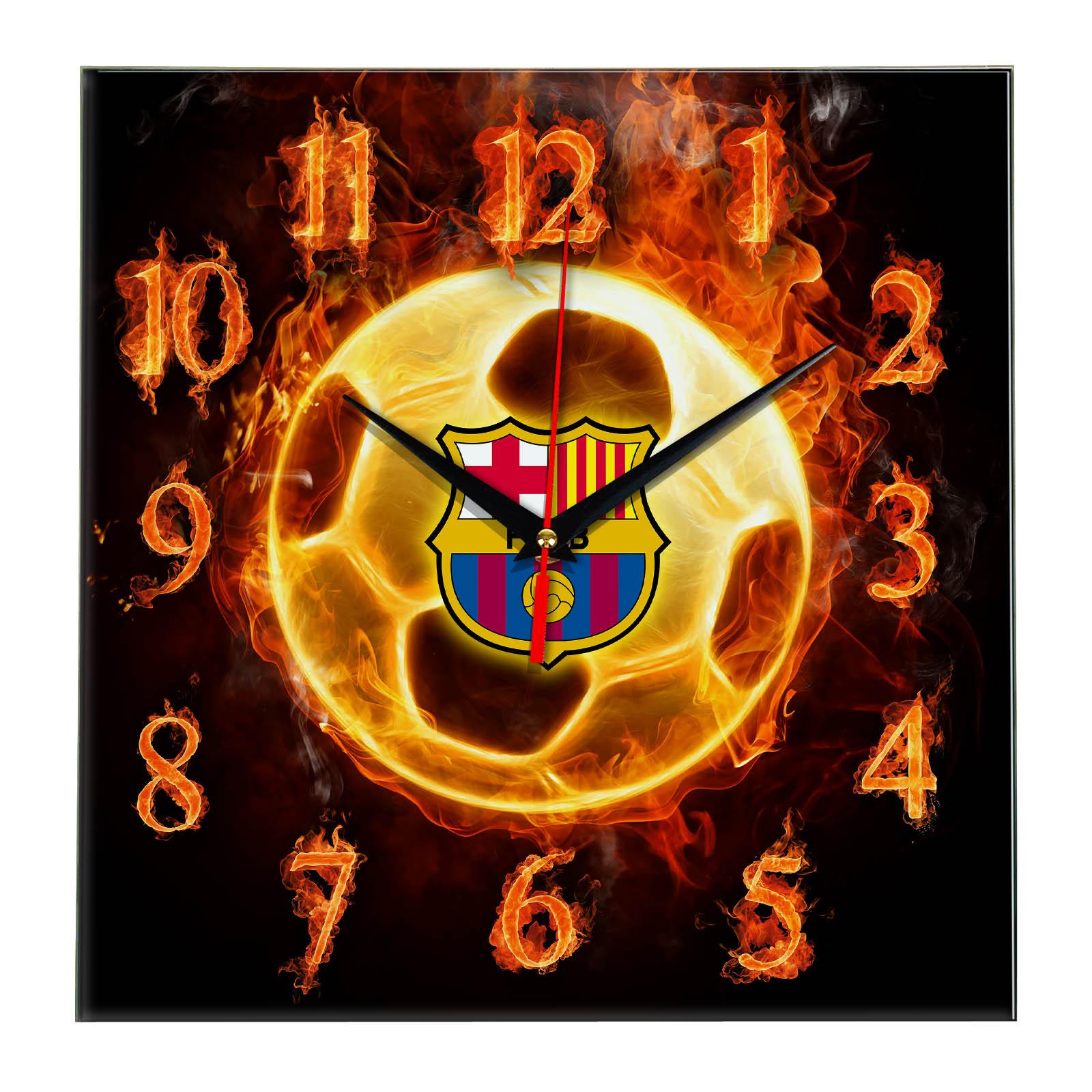Настенные часы «Огненный футболист BARSELONA»