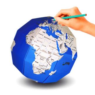 бумажный конструктор 3D пазл глобус раскраска Страны мира ТамТут голубой
