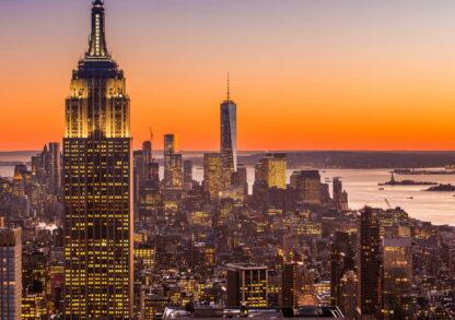 Фото картина закат в Нью- Йорке
