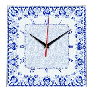Народные промыслы часы Гжель 3