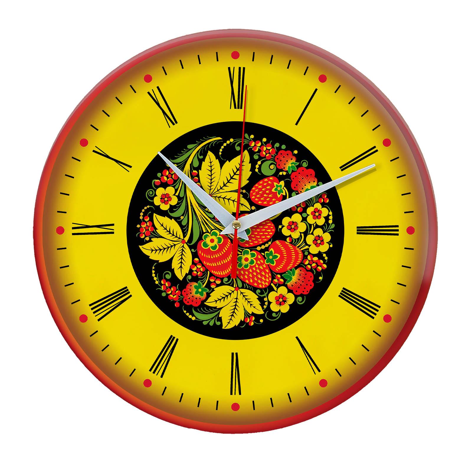 Народные промыслы часы Хохлома 1
