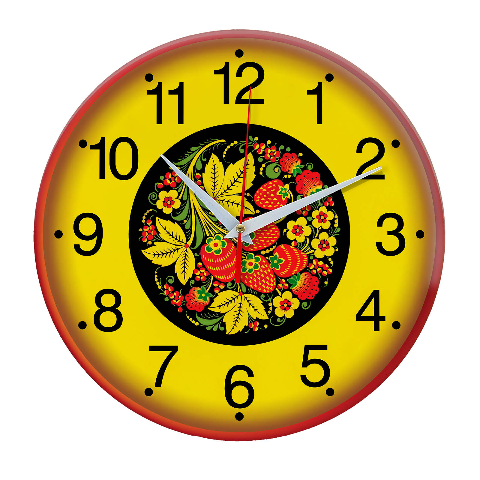 Народные промыслы часы Хохлома 2
