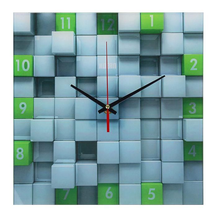 Часы дизайнерские «Кубы зеленые»