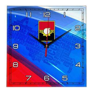 Часы с флагом РФ и гербом города Кемерово 02