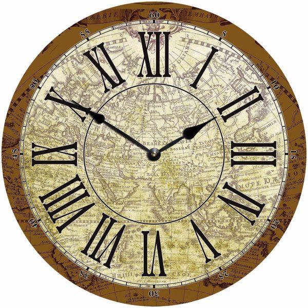 деревянные часы из МДФ Старая карта Мира mdclr032-d420
