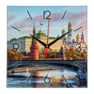 Стеклянные настенные часы с логотипом Москва 18-09