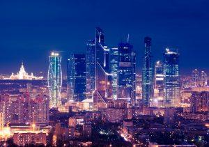 """Фото на стекле """"Москва Сити ночью"""""""