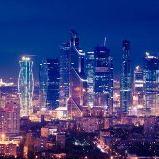 Фото на стекле «Москва Сити ночью»