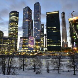 Фото на стекле «Москва Сити вечером»