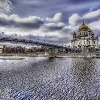 Фото на стекле «Храм Христа Спасителя зимой»