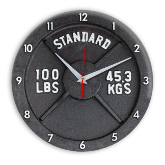 часы Блин штанги motivation-clock-10