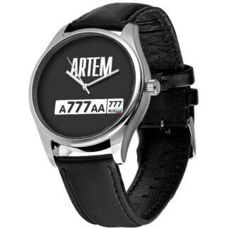 Именные наручные часы с автомобильным номером 02 серебро