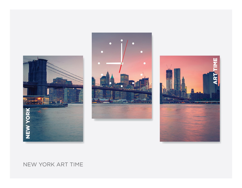 Картина из 3х модулей с часами «New-yark-art-time»