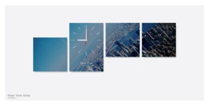 Картина из 4х модулей с часами «New-yark-time»