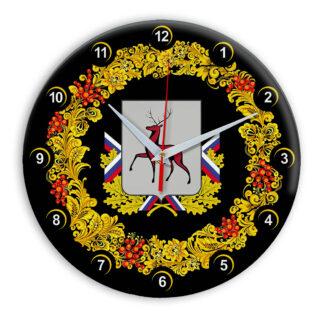 Часы в стиле Хохлома сувенирные Нижний Новгород 03