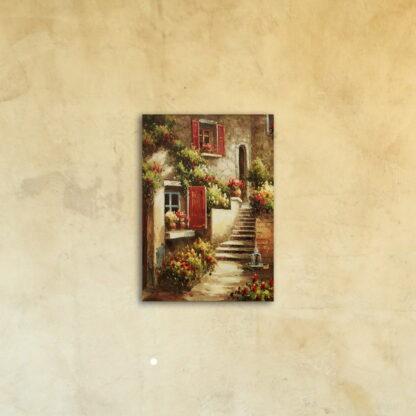 Картина на стекле «Цветущий двор»