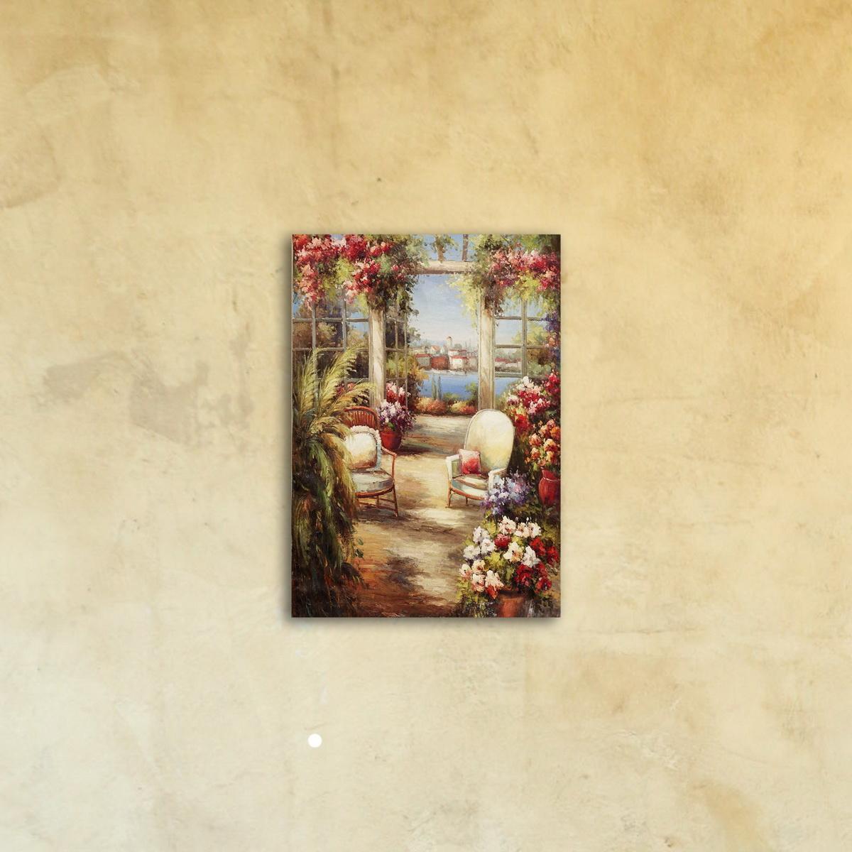 Картина на стекле «Вид из зимнего сада»