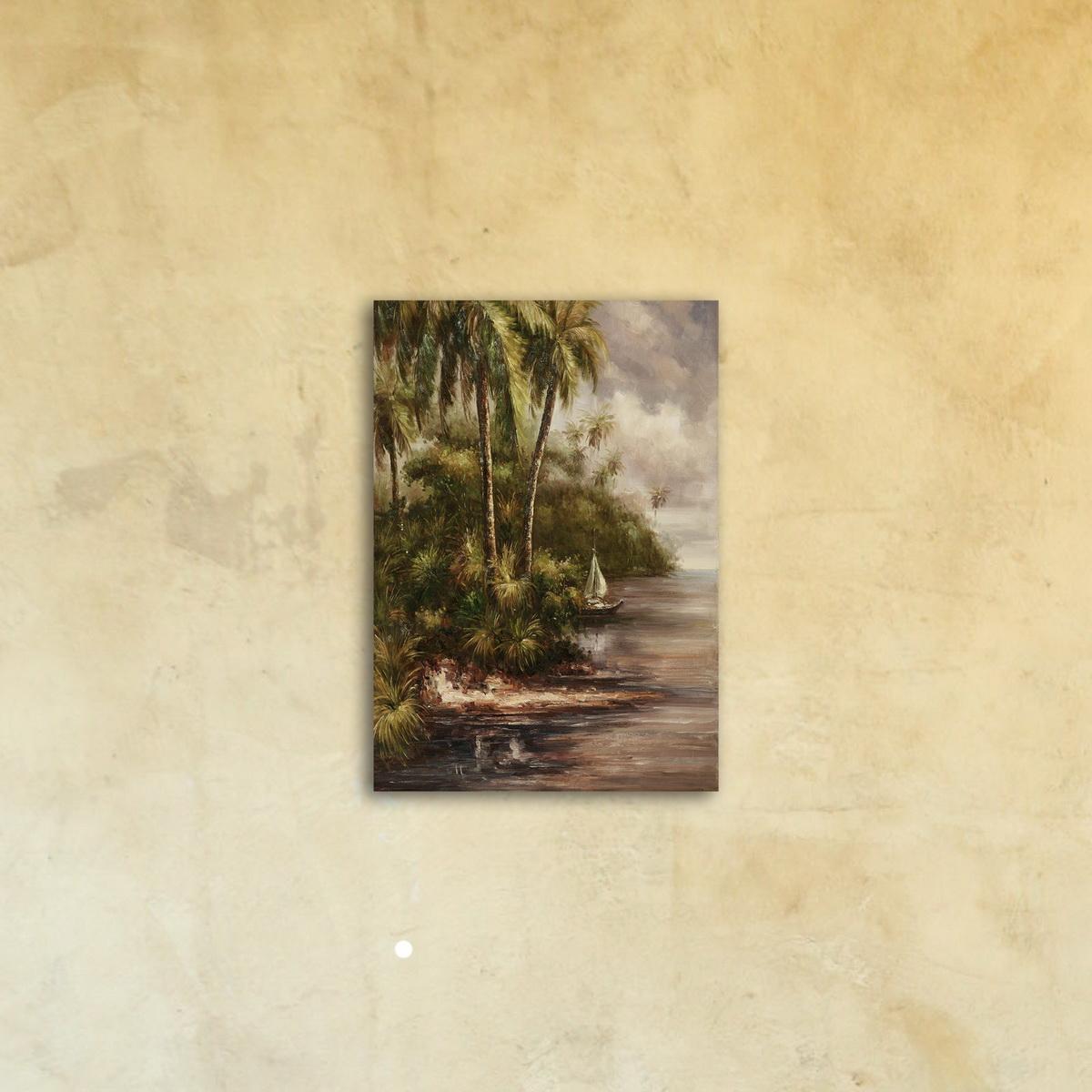 Картина на стекле «Берег в тропиках»