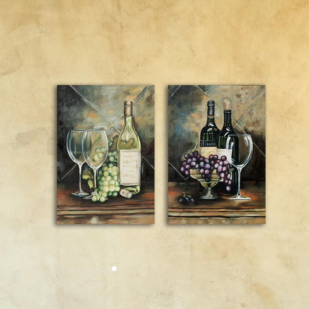 Набор картин «Белое и красное вино»