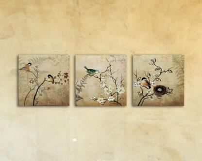Картина на стекле «Птицы на 3 ветках» набор 3 шт