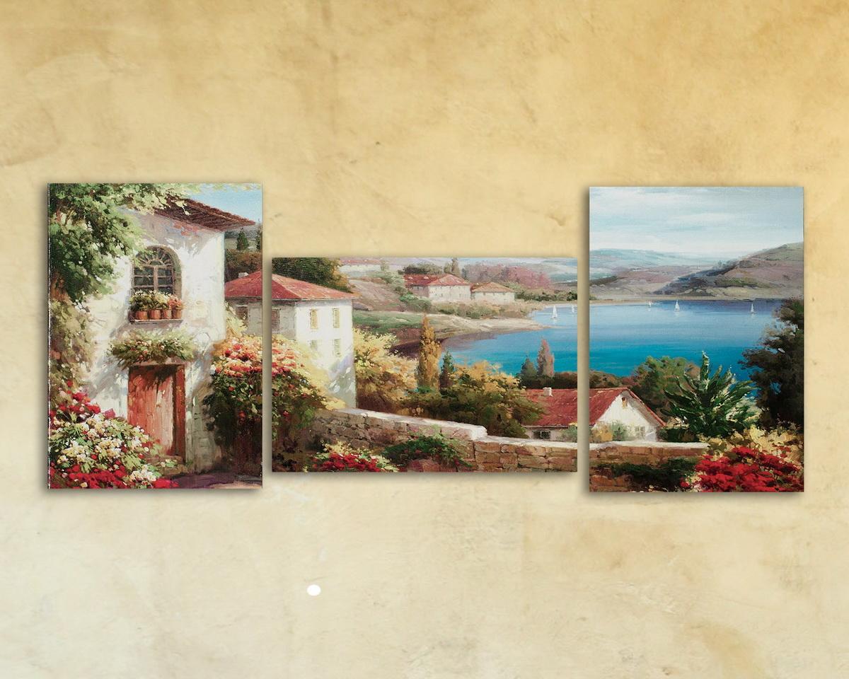 Картина модульная на стекле «Где то в Италии» 3 модуля