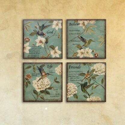 Набор из четырех картин «Колибри»