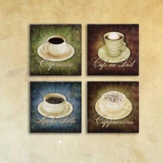 Модульная картина на стекле «Виды кофе»