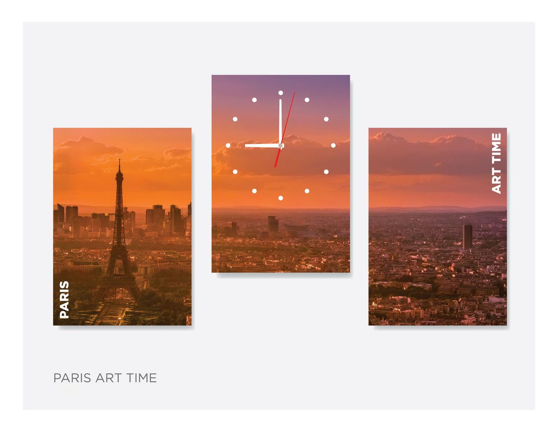 Модульная картина с часами «Paris-art-time»