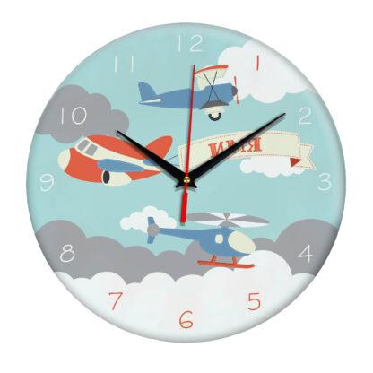 Именные настенные часы с дизайном «Самолеты»